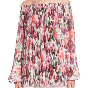 St. John Brigette Floral Off Shoulder Pleated Top